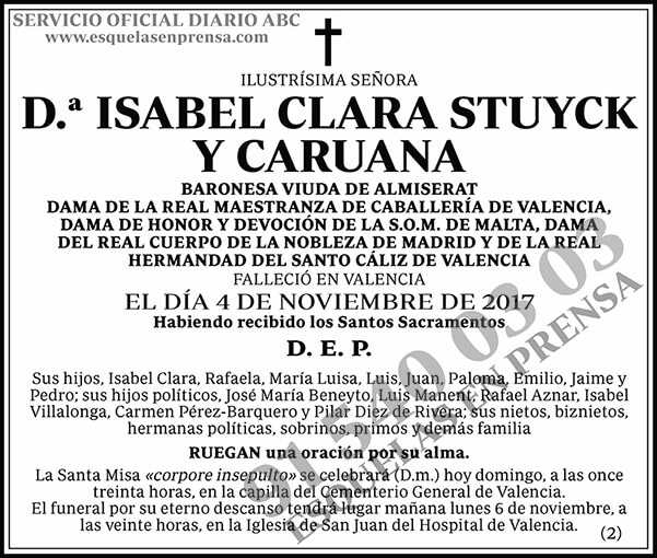 Isabel Clara Stuyck y Caruana